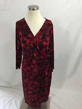 Chaps Ralph Lauren Black Red Ginkgo Floral Gathered Surplice Dress Stretch L
