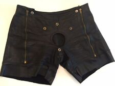 Vintage Leather Shorts w zippers and area for Cod Piece Folsom Gay BDSM S&M Mr S