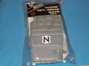 MENS NEUMANN TACKIFIED LINEMAN GRAY LEATHER GLOVES M/L - HALF FINGERS - NEW