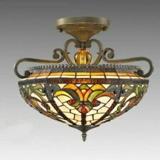 TIFFANY STYLE BOHEMO SEMI FLUSH STAINED GLASS CEILING LIGHT