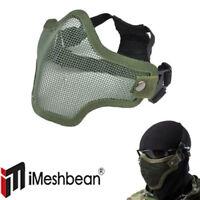Protective Tactical Airsoft Mask Striker Steel Metal Mesh Half Face Mask Green