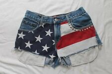 LEVIS Zipper-fly 550 CUTOFF JEAN SHORTS USA Flag American Daisy Duke Size 30 10