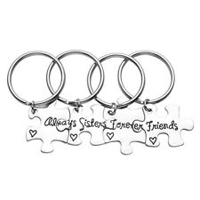 4Pcs Silvery Alloy Puzzle always sisters forever friends Keychain Keyring Gift