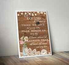 Rustic Mason Jar,Lace,Lights,Wood,Memorial Table In Loving Memory Wedding Sign