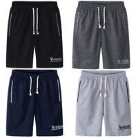 UK New Men's Cotton Sweat Shorts Pants Sports Gym Summer Knee Length Holiday