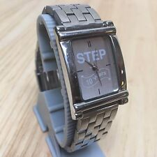 Step 10 Years By Sweda Men Silver Rectangle Analog Quartz Watch Hour~New Battery