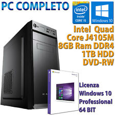 PC COMPUTER DESKTOP NUOVO WIN 10 ASSEMBLATO INTEL QUAD CORE RAM 8GB HDD 1TB