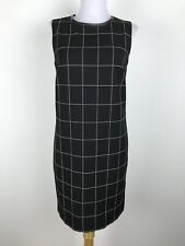 Lauren Ralph Lauren Dress Size 2 Shift Black White Plaid Sleeveless Leather Trim