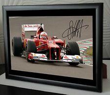 """Seb Vettel F1 Ferrari 2015 Framed Canvas Print Signed.""""Great Gift or Sovenir"""""""