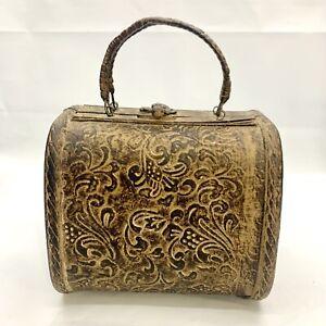 "Bamboo Wood Handbag Purse w/ Metal Latch Unique Wood Clutch Decor 6"" x 5"" x 5.5"""