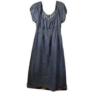 JFW Denim Boho Maxi Dress Womens Plus Size 3X Empire Waist Short Sleeve Pullover