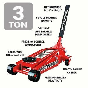 3 Ton Floor Jack Low HEAVY DUTY Steel  Rapid Lift Pump Hydraulic Car Lifting NEW