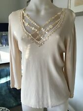 Unusual Ladies QUEENSPARK 3/4 Sleeve Button Embellished Cream Jumper Size L