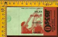 Biglietto Calcio Campionato 1984 / 85 Milan riserva