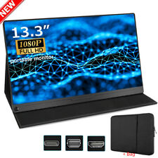 Portable Monitor 13.3'' USB C IPS Display Screen for HDMI Laptop Phone PS4 + Bag