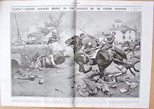 1917 ANTIQUE PRINT - WW1-ITALIAN CAVALRY CHARGING ENEMY-COVERING RETREAT