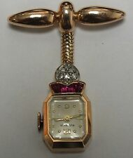 Vintage Ladies Diamond Bucherer Pin Watch in 18K Rose Plat