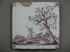 antike Fliese mangan Landschaft Kachel Tegel Dutch Tiles Utrecht -17 Jahrhundert