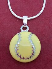 Softball Necklace Show you Love Softball New yellow ball