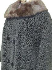 BEAUTIFUL Vintage Black Persian Lamb Bolero Style Jacket With Rabbit Fur Collar