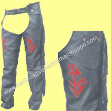 Ladies Red Rose Leather Motorcycle Chaps with Fringe & Braid – Sizes XS-3X
