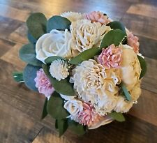 Dusty Rose Cream Sola Wood Bridal Bouquet Boutonniere Bride Moh Bridesmaid Groom