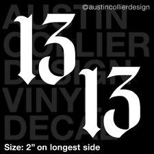 "Set of 2 * 2"" NUMBER 13 vinyl decal car window laptop sticker - lucky charm"