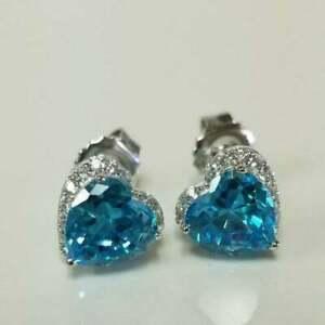 4.20 Ct Heart Cut Blue Topaz Diamond Push Back Stud Earrings 14K White Gold Over