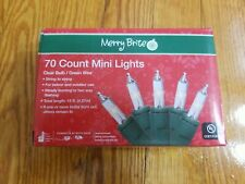 70 count Merry Brite Clear Bulb Green Wire Mini Lights. 15 ft. New!