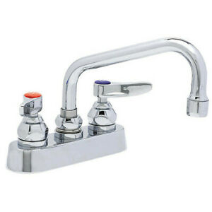 """T&S Brass B-1110 Manual, 4"""" Mount, 2 Hole Low Arc Laundry Sink Faucet"""
