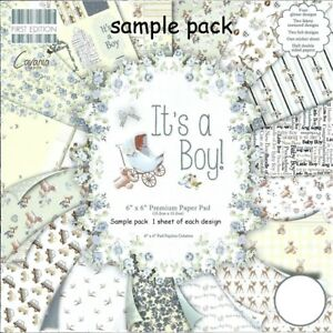 IT'S A BOY PAPERS Dovecraft 6x6 Sample Pack -1 Of Each Design - 16 Sheets