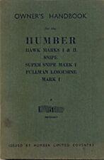 Humber Hawk Snipe Super Snipe Pullman Limousine 1952 English language handbook