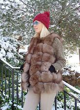 Genuine Fox Fur Pelts Sable Color Warm Elegant Ladies Jacket Vest