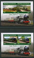 República Centroafricana 2017 estampillada sin montar o nunca montada los trenes de vapor 2x 2 V m/s Ferrocarriles Sellos de carril