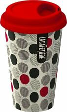 La Cafetiere RED Multi SPOTS TRAVEL MUG Ceramic ECO CUP & LID 250ml DOUBLE WALL