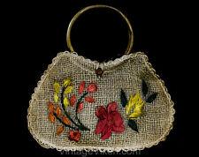 Cute Summer Purse with Wooden Handles - 60s 70s Hippie Tote Bag Resort Handbag