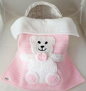 Baby Blanket Hand Crochet Knitted Pink White Teddy Moses Pram Baby Shower Gift