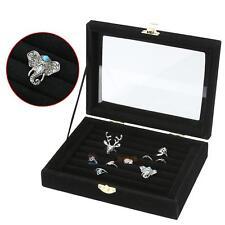8-Rows Ring Earring Jewelry Display Tray Show Case Box Organizer Storage Black #