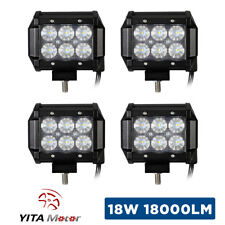 4x 18W 4inch Led Work Light Bar Pods Flood Offroad Lamp For JEEP ATV UTE Cube