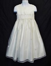 Sz 4 Cinderella Cream Bone Satin Girl Dress Easter Thanksgiving Christmas Church