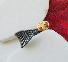 Citrin oval gold gelb schwarz Design Ring Ø 17,25 mm 925 Sterling Silber neu