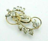 DCE Curtis 1/20 12K Gold Filled Art Deco Style Clear Rhinestone Pendant Brooch