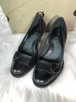 Women's 8M Born Alessandra Black Leather Shoes Pumps Block Heels Button Slip-On