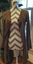 Chelsea & Violet Brown Open Front Draping Cardigan Size XS Suede Feel BEAUTIFUL
