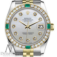 Ladies Rolex 26mm Datejust 2 Tone White Mother Of Pearl Dial Emerald Diamond