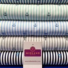 "Nautical Anchor Stripes Printed Poplin Fabric 45"" Wide MK918 Mtex"