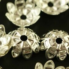Wholesale 100pcs Silver Plated Flower Bead Caps Jewerly Findings 11mm B037