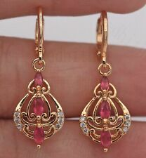 ❤️Earrings 9ct Gold Over Rare Pink Ruby ❤️ Diamond Drops 35 mm Unheated Silver❤️