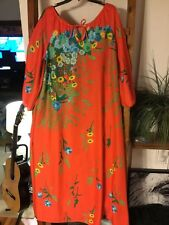 Vintage Floral Free Size One Size Floral Dress Gown Orange Euc Boho Hippie