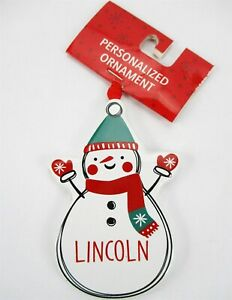 """LINCOLN Personalized Name Holiday Ornament Snowman Xmas Target Ganz 3.5"""" Ceramic"""